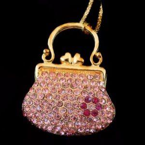 Pink and Gold Handbag Necklace